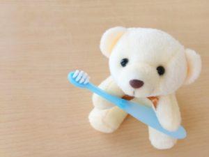 歯ブラシを持つクマ
